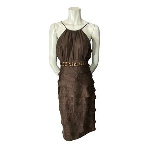 Adrianna Papell Brown Tiered Spaghetti Strap Dress with Jewels and Sequins 12
